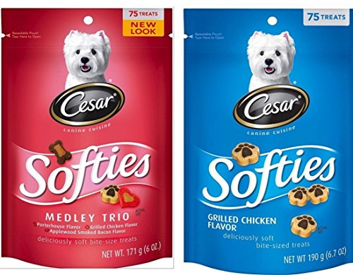 CESAR SOFTIES Medley Trio and Grilled Chicken Dog Treats, two (2) 6.7 ounce pouches Review