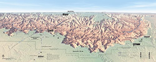 - Wall Map of Grand Canyon National Park, South Rim, 16 X 40 Inches