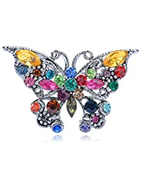 Alilang Silvery Tone Multicolored Rhinestones Colorful Butterfly Insect Brooch Pin