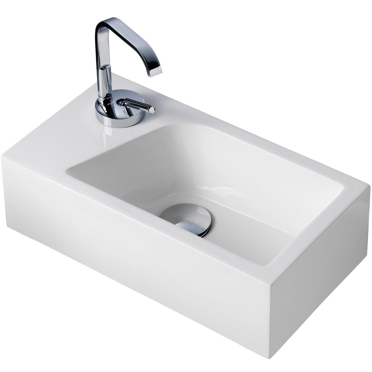 Gäste WC Waschbecken Für Wandmontage Mineralguss Links Oder Rechts  Handwaschbecken: Amazon.de: Baumarkt