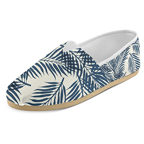 InterestPrint Women's Loafers Classic Casual Canvas Slip On Fashion Shoes Sneakers Mary Jane Flat Trendy Hipster Tropical Floral Palm Tree Jungle Leaves - Tropical Floral Palm Tree