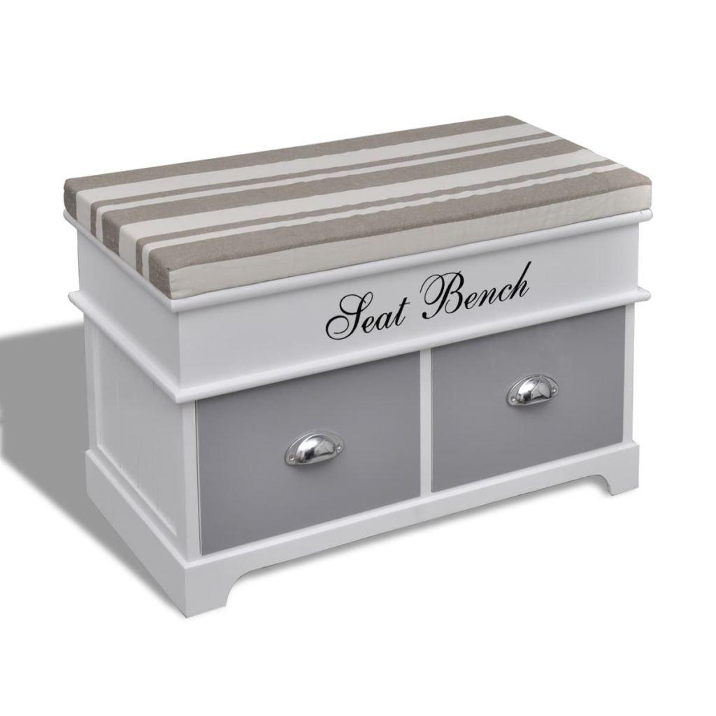vidaXL Panchina bianca per stoccaggio comoda porta oggetti con cuscino e 2 cassetti