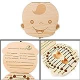Qingsun Baby Tooth Box Keepsake Save Wooden Boxes Personalized Deciduous Souvenir Box (English-Boy)