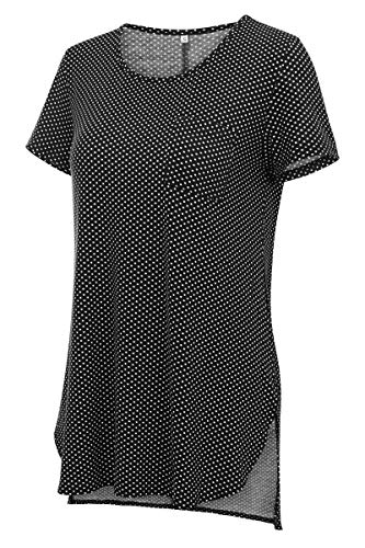 Women's Soft Printed Flowy High Low Short Sleeve Tunic Shirts XL Black Polka -