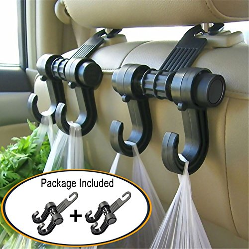 Gyges 2 PCS Car Hooks Vehicle Back Seat Hidden Headrest Hanger, Universal Holder for Purse Handbag Grocery Shopping Bag Cloth Coat (2 Pack)