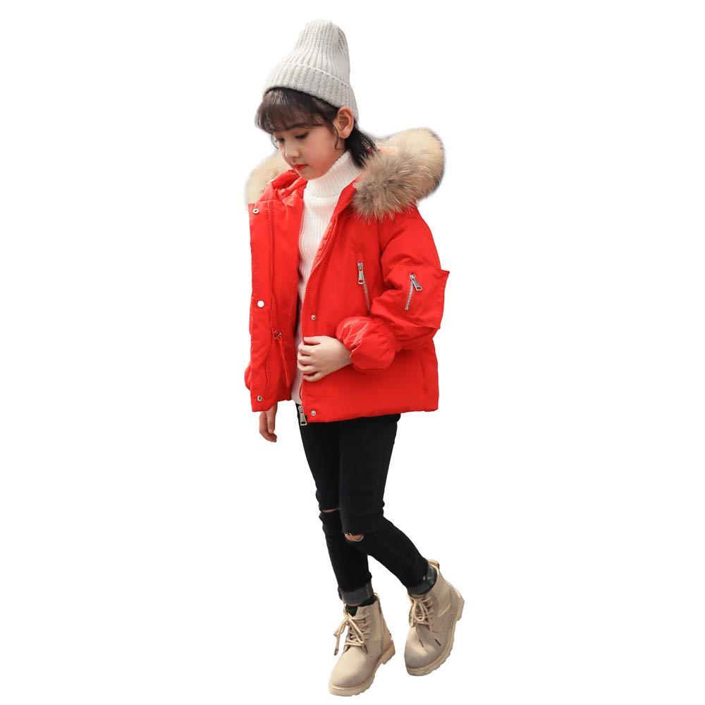 YEEFINE SNOWING Girls Hooded Down Coat Full Zip Jacket Winter Parkas