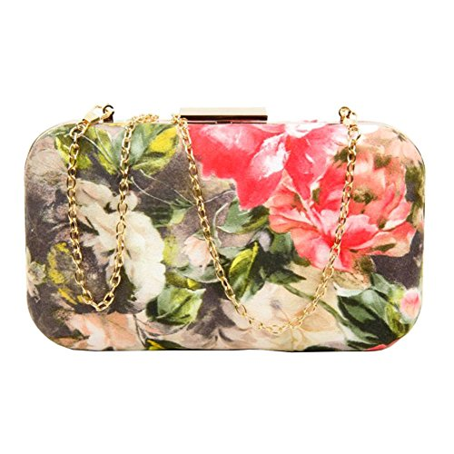 Multicolour Floral Leather Purse Green Party Faux Ladies Bag Hardcase Print Clutch PEqwPB