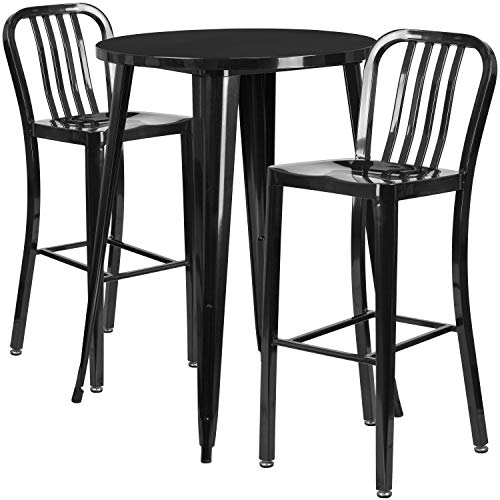 My Friendly Office MFO 30'' Round Black Metal Indoor-Outdoor Bar Table Set with 2 Vertical Slat Back Stools