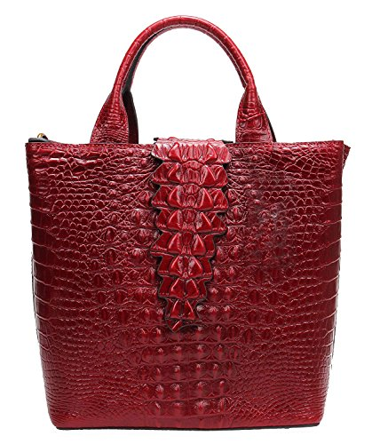 Womens Top Handle Satchel Handbags Embossed Crocodile Designer Tote Purse w806 (red)