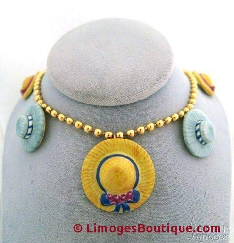 Hat Necklace: Yellow & Gray - French Limoges Boxes - Porcelain Figurines Collectible Gifts ()