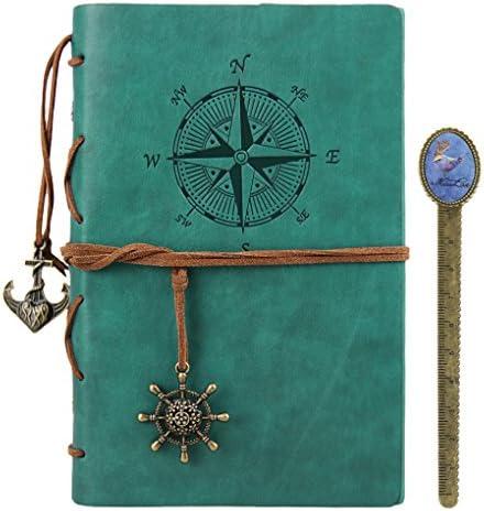 Retro Notizbuch Skizzenblock Leder Reisetagebuch DIN A5 nachfüllbar Spiralbuch Journal Notizblock Kraftpapier Sketchbook als Geschenk für Geburtstag Jahrestag