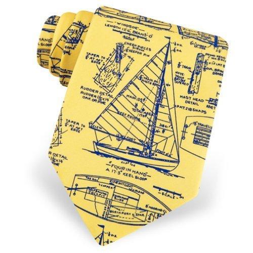 Men's 100% Silk Yellow Sail Plans Blueprint of Sailboats Sailing Nautical Necktie Neck Tie Neckwear -