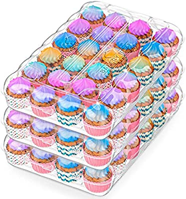 Amazon Com Bakerybest Cupcake Boxes Disposable Plastic Containers Holder 24 Count 30 Pack Carrier Bulk Transport Cupcakes Tall Dome Muffin Tray Clear Container Box Holders Large Storage Tray Cupcakeboxes Kitchen Dining