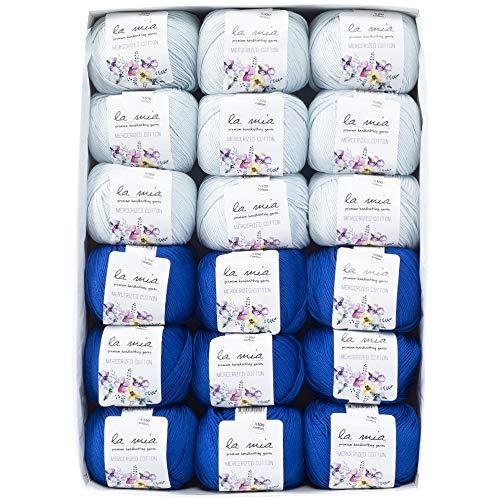 La Mia Mercerized Cotton Gift Set - 18 Skeins of Assorted Colors La Mia Mercerized Cotton Yarn, Each Ball 1.76 Oz (50g) / 135 Yrds (147m), Soft, 3 : Light-Dk (Sapphire) by La Mia (Image #1)
