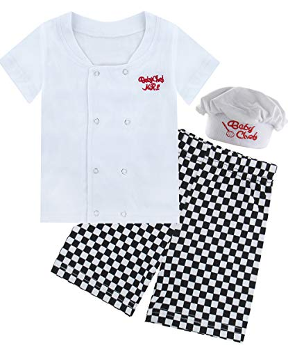 (COSLAND Infant Baby Boys' 3 Pieces Chef Costume Outfits (Chef, 6-12)