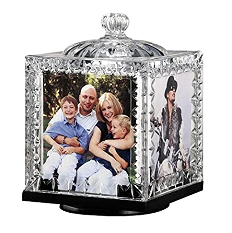 Crystal Revolving Photo Cube Frame Decorative Desk-Top Rotating Picture Display - Plastic Photo Cube