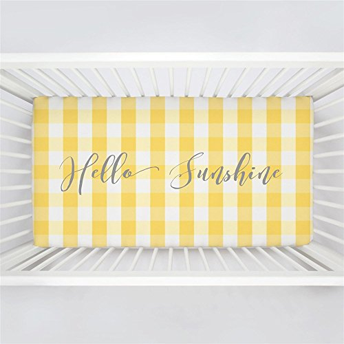 Carousel Designs Personalized Custom Saffron Buffalo Check Crib Sheet Hello Sunshine Idea - Organic 100% Cotton Fitted Crib Sheet - Made in The ()
