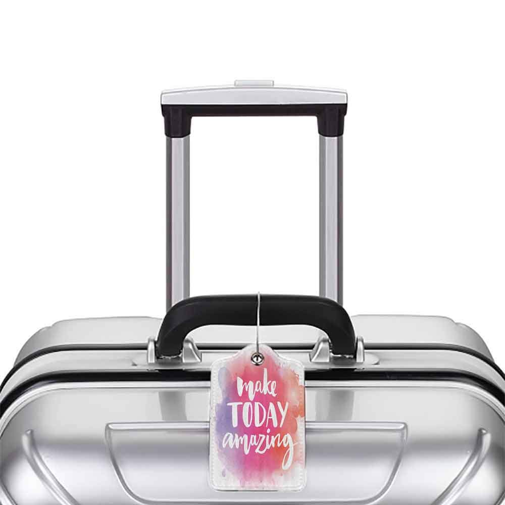 Small luggage tag Quotes Decor Collection Make Today Amazing Inspirational Quote on Colorful Watercolor Splash Background Quickly find the suitcase Red Purple White W2.7 x L4.6