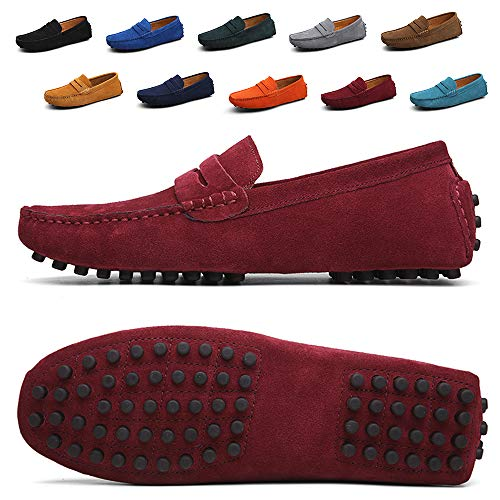Velvet Slip on Loafers red Moccasins for Men Men's Driving Penny Dress Loafers Suede Leather Driver Moccasins Slip On Shoes (2088-Red-42)