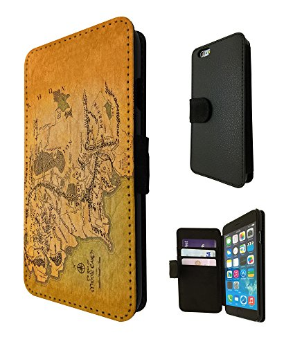 873 - Lord of the Ring map of middle earth Design iphone 6 / 6S 4.7'' Fashion Trend TPU Leder Brieftasche Hülle Flip Cover Book Wallet Credit Card Kartenhalter Case