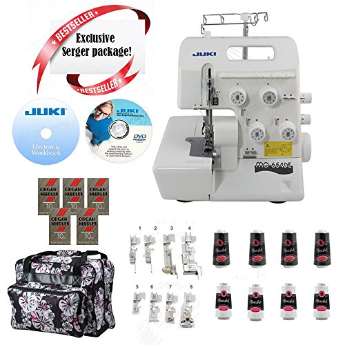 Juki Pearl Line MO-654DE 2/3/4 Thread Serger with BONUS I WANT IT ALL PACKAGE! Includes: 8 Piece Foot Kit, Serger Tote, 8 Thread Cones, 50 Needles, Electronic Workbook, Instructional DVD! by JUKI