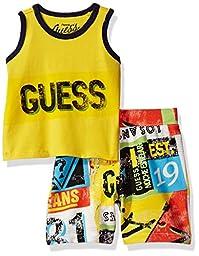 GUESS Baby Boys\' Set-Tank T-Shirt + Printed Short Pant, Hyper Glow, 24M