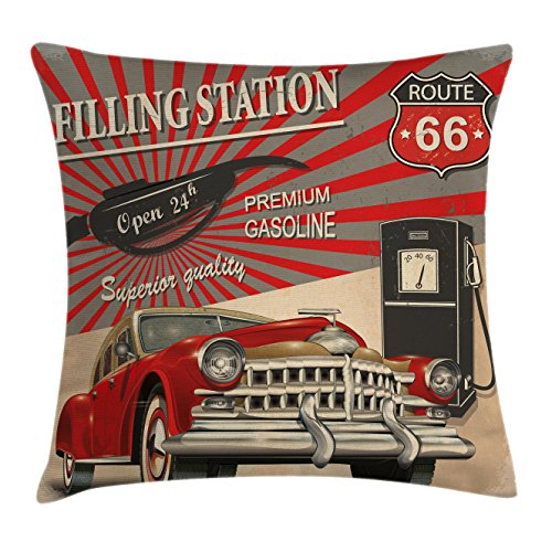 Ambesonne Cars Throw Pillow Cushion Cover, Poster Style Image Gasoline Station Commercial Kitschy Element Route 66 Print, Decorative Square Accent Pillow Case, 24 X 24 inches, Vermilion Beige by Ambesonne