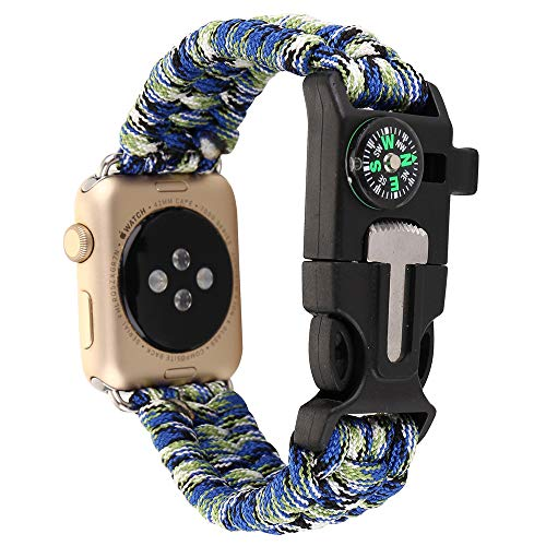 Woven Nylon Rope Paracord Wrist Band for Apple Watch 38mm 42mm, Replacement Compass Sport Strap Bracelet Watch Band Outdoor Survival Tools for iWatch Serise 1 2 3 (Blue+Green, 42mm) ()