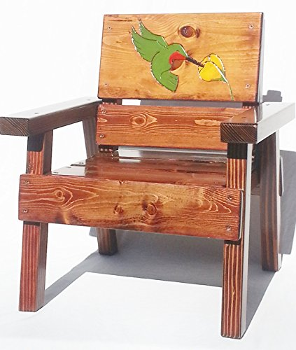 Happy Chair Kids Outdoor Wooden Furniture, Engraved and Painted Hummingbird