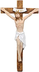 """Comfy Hour 7"""" Jesus Christ Nailed On The INRI Cross Resin Wall Crucifix Home Chapel Decoration"""