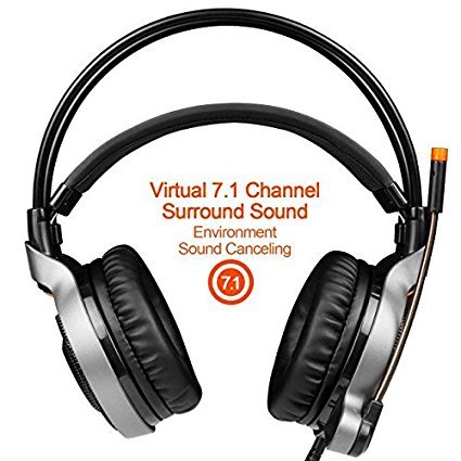 2017 SADES R1 USB Wired 7.1 Surround Stereo Sound Gmaing Headset with Flexible Microphone for PC,4D Physical Vibration Sound,Volume Control,LED Light(Black Organe) by SADES (Image #4)