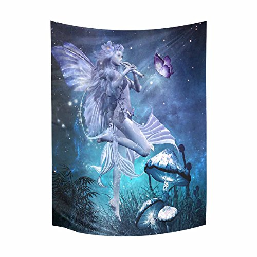 Cotton Tale Wall Art - InterestPrint Hippie Fairytale Beautiful Fairy Playing Flute with Butterfly and Mushrooms Cotton Linen Tapestry Wall Art Home Decor, Tapestries Wall Hanging Art Sets, 60W X 80L Inch
