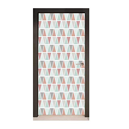 Homesonne Geometric Self Adhesive Wall Sticker Harlequin Pattern with Small Crosses in Pastel Colors Contemporary Mosaic Design for Office Decoration Multicolor,W17.1xH78.7