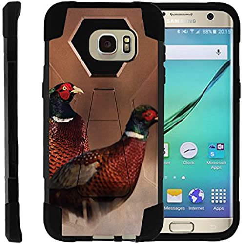 Samsung Galaxy S7 Edge, Heavy Duty Silicone Gel and PC Combo Phone Cover with Unique Hunting Gear Design, by Miniturtle - Red and Green Birds Sales