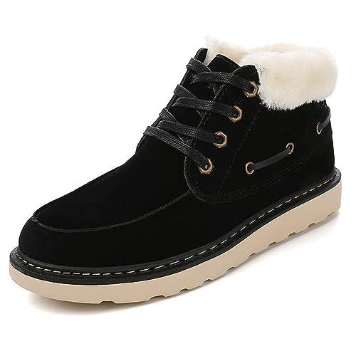 Zapatillas de Deporte Hombre Botas de Nieve Gamuza Cuero Flat Botines con Cordones Cálidos de Felpa