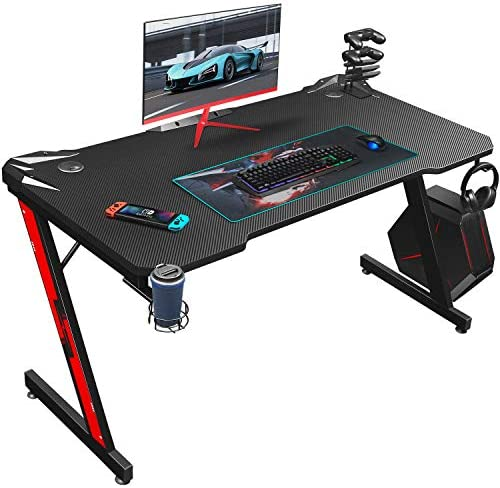 Homall Gaming Desk 44 Inch Computer Desk Gaming Table Z Shaped Pc Gaming Workstation Home Office Desk with Carbon Fiber Surface Cup Holder and Headphone Hook (Black)