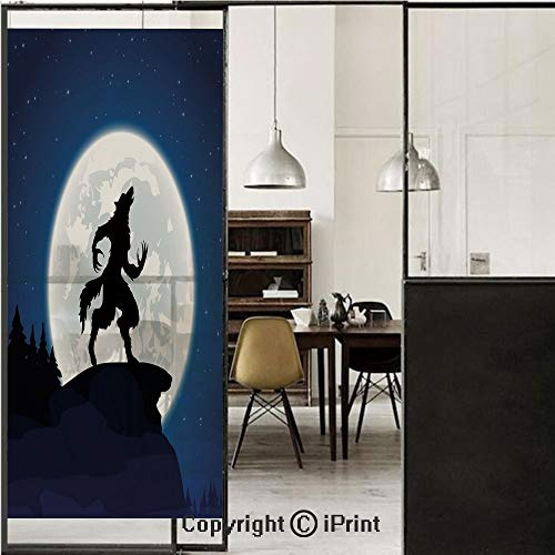 Wolf 3D Decorative Film Privacy Window Film No Glue,Frosted Film Decorative,Full Moon Night Sky Growling Werewolf Mythical Creature in Woods Halloween,for Home&Office,23.6x70.8Inch Dark Blue Black Whi -