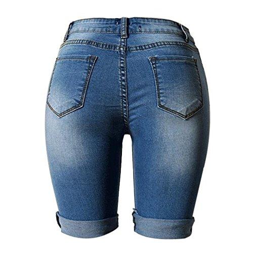 Femme Trou Taille Haute Pantalon Youthny Courte Bleu Et CP7qwE6dn
