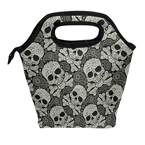Lunch Tote Bag Sugar Skull Flowers Rose Daisy Insulated Cooler Thermal Reusable Bag, Mexican Day Of The Dead Skull Love Heart Lunch Box Portable Handbag for Men Women Kids Boys Girls