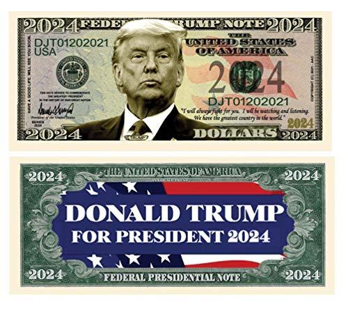 대통령을위한 도널드 트럼프 2024 한정판 참신 달러 지폐-100 팩-훌륭한 세부 사항으로 풀 컬러 전면 및 후면 인쇄. 다시 미국을 위대하게 만드십시오
