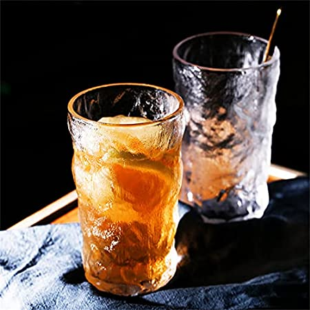 ZYKXSJ Glacier Pattern Glass Cup,Transparent Whiskey Glass Wine Glasses300ml/350ml, Used in Scotch Whiskey Whiskey Cocktail Beer Glas (300ml*2)