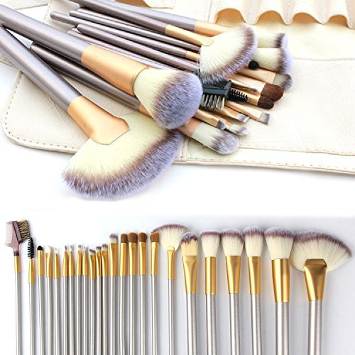 Make up Brushes, VANDER LIFE 24pcs Premium Cosmetic Makeup Brush Set for Foundation Blending Blush Concealer Eye Shadow, Cruelty-Free Synthetic Fiber Bristles, Travel Makeup bag Included, Champagne (Life Foundation)