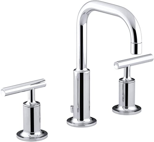 Bathroom Faucet by KOHLER, Bathroom Sink Faucet, Purist Collection, 2-Handle Widespread Faucet with Metal Drain, Polished Chrome