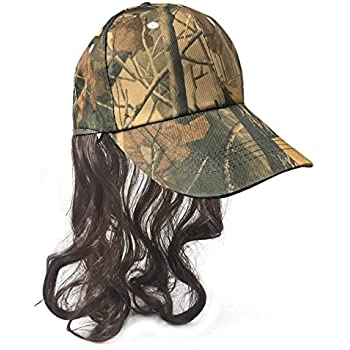 Camouflage Billy Ray Hat with Brown Hair! Bed Head, Dont Care! Now You Have The Perfect Hat to Cover The Mess Even in The Deer Stand!