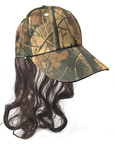 Camouflage Billy Ray Hat with Brown Hair! Bed Head, Don't Care! Now You Have The Perfect Hat to Cover The Mess Even in The Deer -