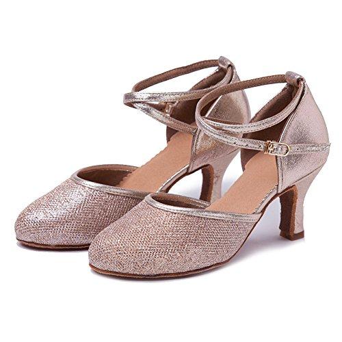 Latino Paillettes Hipposeus Dance 7cm Tango Oro Heel Con Donna f cl Signora Salsa Ballo Wx 5cm Chiuse Scarpe Da Per rvcqrB0X
