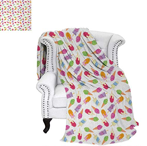Warm Microfiber All Season Blanket Cartoon Style Cones with Vibrant Colored Creamy Scoops and Popsicles Sweet Tooth Print Artwork Image 70