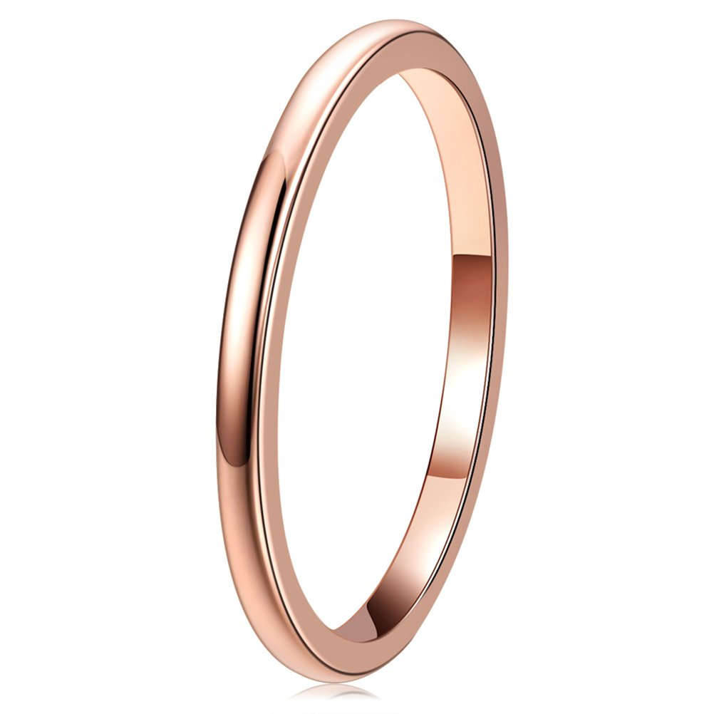 Three Keys Jewelry 2mm Tungsten Carbide Wedding Ring for Women Plated Rose Gold Wedding Band Engagement Ring Polished Comfort Fit Size 7