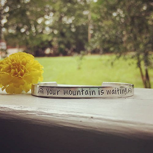 Your mountain is waiting -handstamped bracelet quote from Dr. Seuss