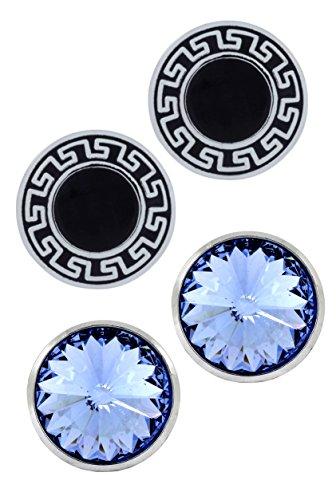 (The Jewelbox Glossy Rhodium Plated Round Blue + Black Combo Cufflink Pair for Men)